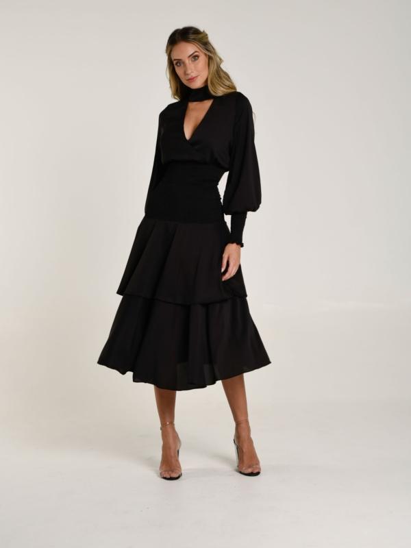 vestido flor de lis preto